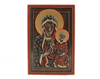 Our Lady of Czestochowa Icon Sculpture signature  FREE SHIPPING