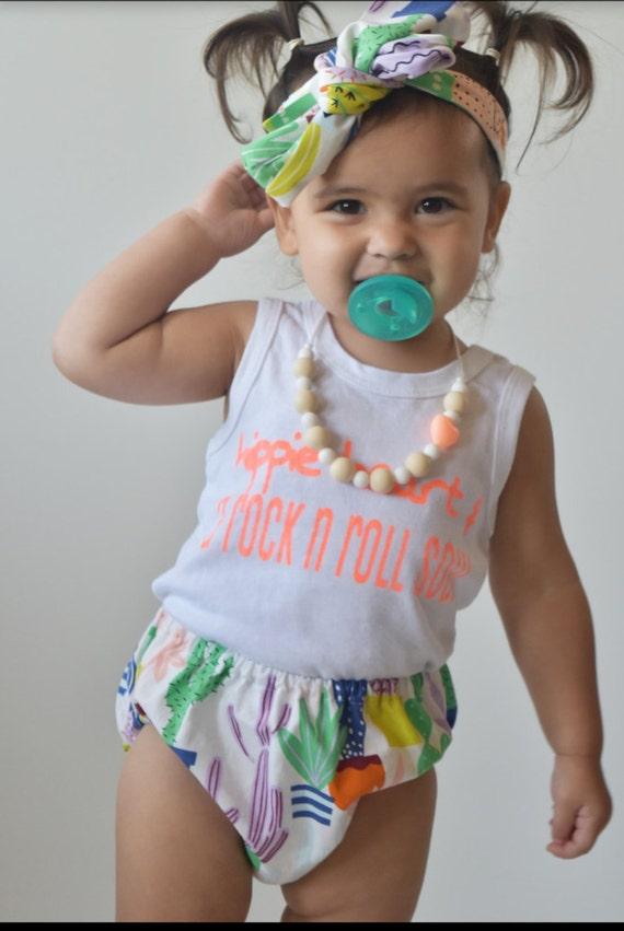 Cha Cha Diaper cover -skirt- headwrap summer fun cactus baby skirt toddler skirt or diaper cover bloomer