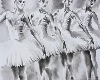 "Four Ballerinas - Swan Lake ORIGINAL WATERCOLOUR PAINTING 14"" x 20"")"