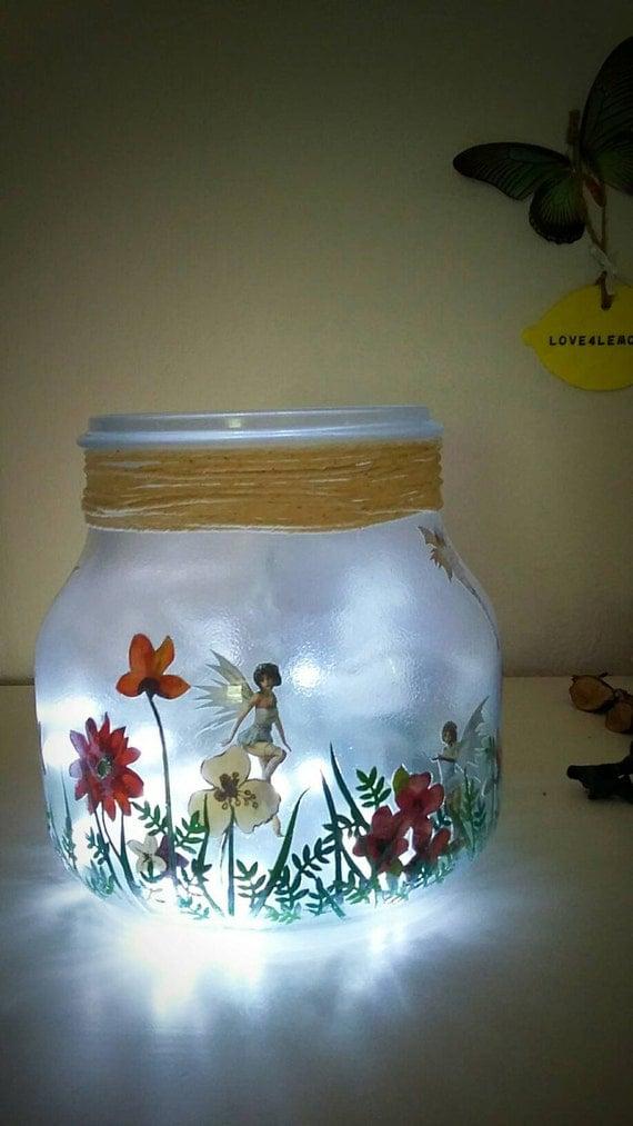 Fairy Jar Girls Night Light Childs Room Lighting By