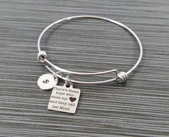 Mom Bracelet Mother Son Bracelet Expandable Charm Bracelet