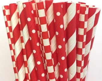 2.85 US Shipping -Valentine's Day Paper Straws - Christmas straws - Red straws - Cake Pop Sticks - Drinking Straws