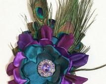 Peacock Hair Clip - Peacock Brooch, Ladies Hair Accessories, Girl Hair Clip, Peacock Themed Wedding, Flowergirl hair accessory
