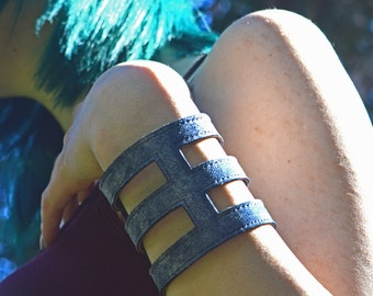Sky Blue/White Goat Suede Cage Cuff 'Ceres' Bracelet