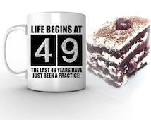 49th birthday mug, life begins at 49, 49th birthday, 49 birthday, 1966, 49th birthday, birthday gifts, coffee mug, tea mug, cup, him, her