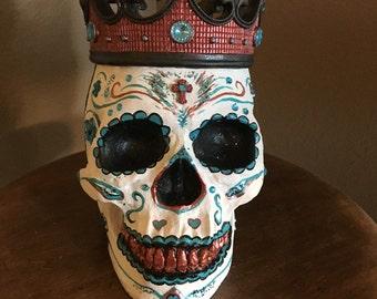 sugar skull, day of the dead, skeleton, dia de los muertos, crown, cross, halloween