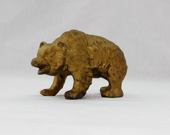 Vintage Pot Metal Gold Grizzly Bear Figurine Paperweight