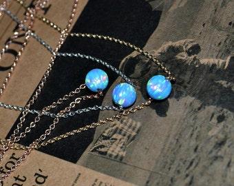 OPAL NECKLACE // Dot Necklace Opal - Opal Ball Necklace - Single Bead Necklace - Blue Opal Bead Necklace - Opal Charm Necklace