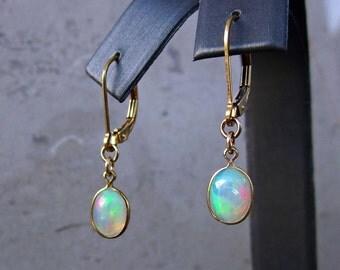 Opal Earrings, Genuine Opal Earrings, October Birthstone, Opal Jewelry, Fire Opal Earring, Drop Earrings, Dangle Earring, Statement Earring