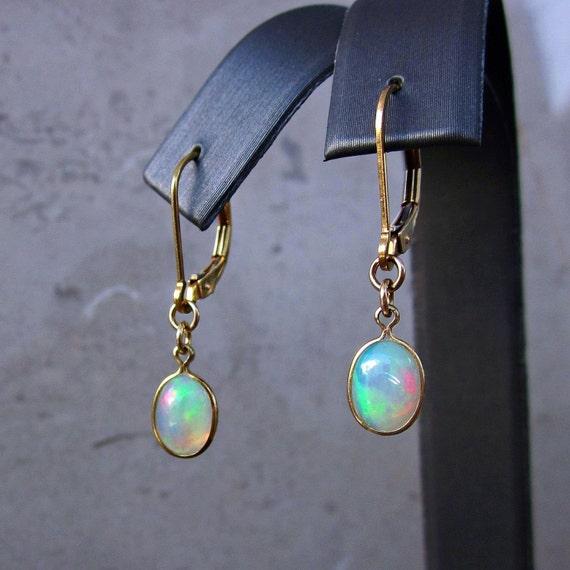 opal earrings genuine opal earrings october birthstone opal
