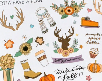 Planner Stickers Thanksgiving and Fall Variety for Erin Condren, Happy Planner, Filofax, Scrapbooking