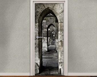 Self-Adhesive Door Decal Vinyl Sticker - Medieval Passage Door Wallpaper