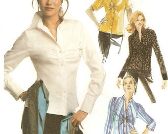 Woman's Blouse Sewing Pattern UNCUT McCall's 3799 Miss Size 12-16 Long or Short Sleeve Shirt/Top