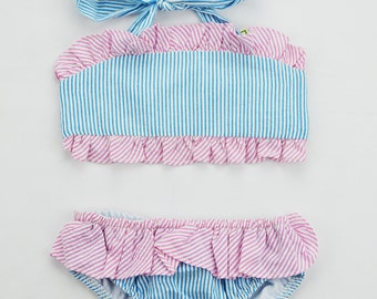Little Girls White, Blue & Pink Ruffled Bathing Suit. Size 2T