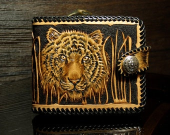 Hand-tooled leather wallet,  leather men's wallet, hand-carved wallet, Tiger wallet, tooled wallet, carved wallet, custom wallet, mens gift