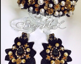 Headband and earring set for special occasions such as weddings, parties etc
