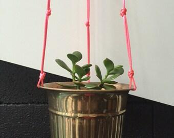 Brass Fluro Pink Hanging Pot Planter Vintage