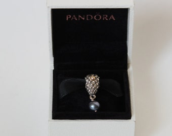Pandora Rare Silver and 14ct Grape Bunch Diamond and Pearl Charm 790547D Rare and Retired