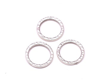 3 pcs Silver Plated Hammered Circle, 20mm Silver Circle Connector, Jewelry Findings, Karma Charms