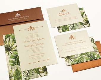 Tropical Wedding Invitation, Destination Wedding Invitation, Beach Wedding Invitation, Palm trees, pinapple, Hawaiian - DEPOSIT