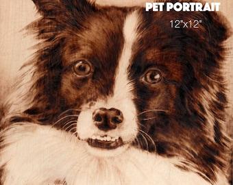 Wood-burned custom pet portrait (Large)