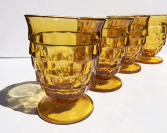 Amber Colony Whitehall Footed Tumblers, Indiana Glass Drinking Glasses or Sundae Dishes, Amber Whitehall Pattern Iced Tea Tumblers Set of 7