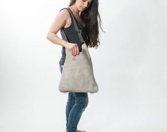 Off White Leather Backpack - Leather Shoulder Bag - Convertible Leather Backpack - Leather Tote Bag -Side\Back Leather Bag- Versatile Bag