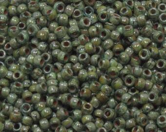 MATUBO 7/0 AQUAMARINE PICASSO Seed Beads - Czech Seed Beads - 10 Grams