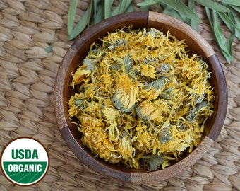 Organic Dried Whole Calendula Flowers. Calendula officianalis. 1 oz