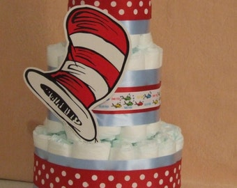 3 Tier Diaper Cake Dr. Seuss Cat in The Hat, One Fish Baby Shower Centerpiece