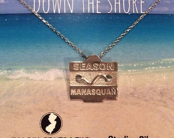 Manasquan - Jersey Shore Sterling Silver Beach Badge Necklace