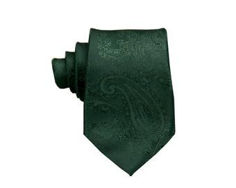 Dark Green Tie.Paisley Ties.Wedding Necktie.Skinny Paisley Tie.