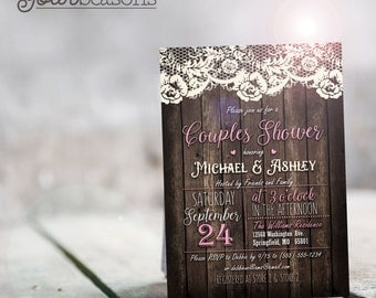 Rustic Pink Couples Shower Invitation - Personalized Printable DIGITAL FILE
