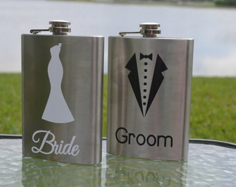 Bride and Groom Flask Set, Wedding Flask Set, Bride and Groom Gift, Wedding Gift, Engagement Gift, Bridal Party Gift, Personalized Flasks