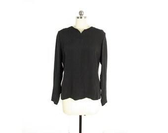 Vintage Black Silk Shirt -- Button Back Silk Blouse -- 90s Minimalist Long Sleeve Top -- Collarless Blouse -- Womens S