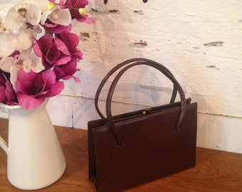 Vintage Chocolate Brown Leather Kelly Handbag with gold clasp - Immaculate Condition Never Been Used