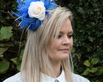Electric blue and cream fascinator, weddings,