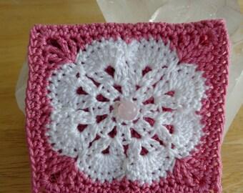 Handmade Crochet Coin Purse - Pink & White