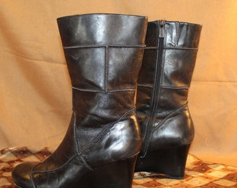 Heeled boots vegan leather, black patchwork style, size 10 Us, 42.5 Eur