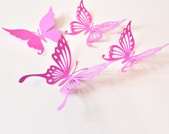 14 Paper Butterfly Wall Decals, Butterfly Stickers for Girl Room, Butterfly Decoration, Butterfly Party Supplies