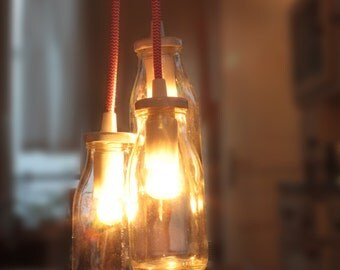 Multiple and Cable Textile Rose bottles pendant lamp