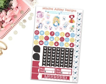 371/ Planner stickers - Erin Condren life planner stickers, Alice in Wonderland stickers, Sampler page, functional page, Alice stickers