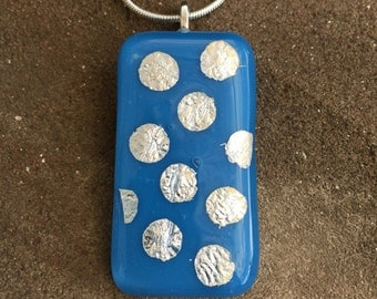 Blue glass pendant with pure silver spots #046