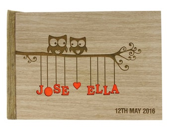 Personalized Wedding Guest Book, Wood Wedding Guest Book, Owl Guestbook, Rustic Wedding Guest Book, Custom Guest Book, Gift For Couple GB18