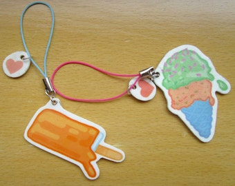 Ice Cream Pop Zipper Charms/ Keychains