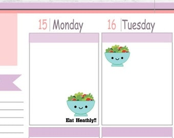 Itty Bitty or ECLP Size  Heathly Salad Planner Stickers To Use With Erin Condren Planner