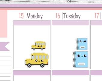 Kawaii School Bus & Notebook Stickers To Use With Erin Condren Planner