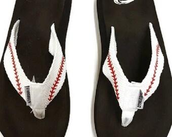Baseball Flip Flops, Flip Flops, Cloth Base Ball Flip Flops, Sandals Baseball Flip Flops