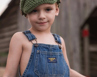 Little Boy Crochet Newsboy Hat, Olive Green with Wooden Buttons, Fall Fashion for Boys, Scull Cap, Beanie, Winter Hat for Boys, Gift Idea