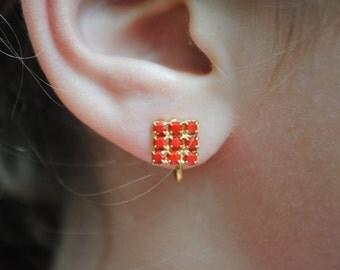 Vintage Rhinestone Clip On Earrings
